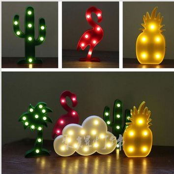Cute Letter Flamingo Led Night Light for baby Pineapple Pendant lamp Cactus Wall Lamp Motif light For Party Home Room decoration