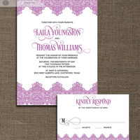 Radiant Orchid Wedding Invitation & RSVP 2 Piece Suite Vintage Lace Art Deco Old Fashioned Classic CUSTOM COLORS DiY or Printed- Laila
