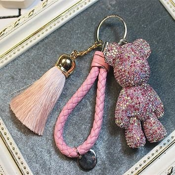 New Luxury Leather Rope Tassel Car Keychain Keyring Handmade Rhinestone Crystal Bear Key Chain handbag phone charm Accessories