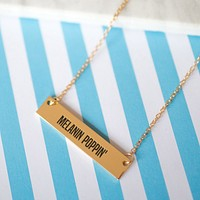 Melanin Poppin Gold / Silver Bar Necklace