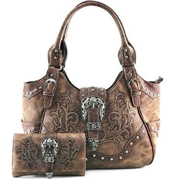 Justin West Tooled Laser Cut Leather Floral Embroidery Rhinestone Buckle Studded Shoulder Concealed Carry Tote Style Handbag Purse