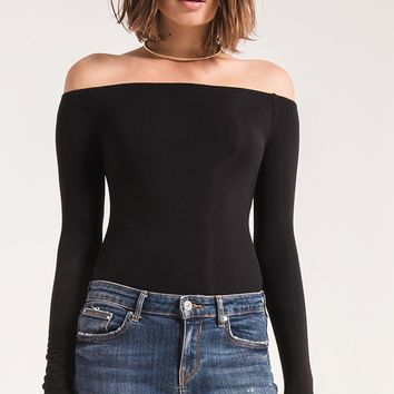 Z Supply The Long Sleeve Off The shoulder Tee -Black
