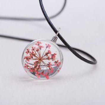 MDIG57D 2016 Jewelry Fashion Crystal Glass Ball Narcissus Lace Necklace Long Strip Leather Chain Pendant Necklaces Women Gift