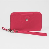 Longchamp Zip Around Wallet Cell Case - Le Pliage Cuir - Pink