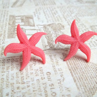 C O R A L  Coral Red Pink Starfish Beach by handmadebyfirefli