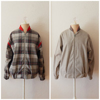 Vintage 80s Womens Red Gray Checkered Zip Up Reversible Jacket Elbow Patches Medium
