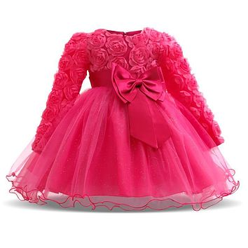Fashion Formal Newborn Wedding Dress Baby Girl Bow Pattern For Toddler 1 Years Birthday Party Baptism Dress Clothes