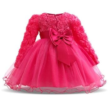 Baby Girl Dress Winter Tutu Dresses For Newborn Baby Wedding Christening Party Wear Toddler Girl 1 Year Birthday Frocks Baptism