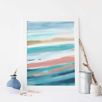 Modern Beach House Painting Turquoise Seascape Ocean Wall Art Print