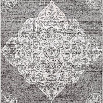 20028 Dark Gray Distressed Vintage Medallion Oriental Area Rugs