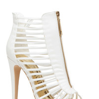 White Faux Leather Strappy Zipper Accent Open Toe Heels