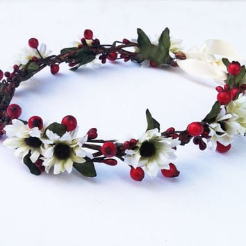 Winter Wedding Flower Crown. Flower Girl, Bridal, Headpiece, Rustic, Woodland, Wedding, Floral Crown, Red Berry, Holly Berry, Red and White