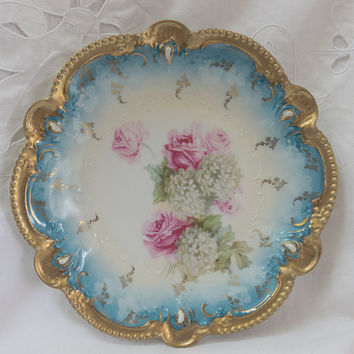 Antique RS Prussia Mold 207 Snowballs and Roses 8.5 Inch Bowl