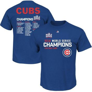 Youth Chicago Cubs Majestic 2016 World Series Champions Sweet Line Up T-Shirt - Royal