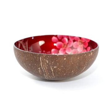 lacquer coconut shell bowl  with cherry design