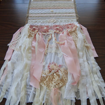 Country Gypsy Soul - Vintage Lace and Burlap Shabby Chic Wedding Table Runner