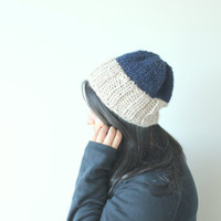 Slouchy Knit Beanie, Chunky Knits, Women's Beanie, Ribbed Hat, Winter Hat, Hipster Beanie