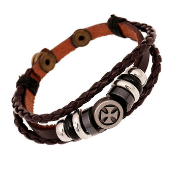 Cross Beaded Braided Leather Bracelet