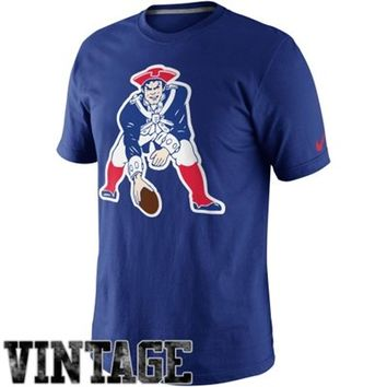 Nike New England Patriots Retro Oversized Logo T-Shirt - Royal Blue