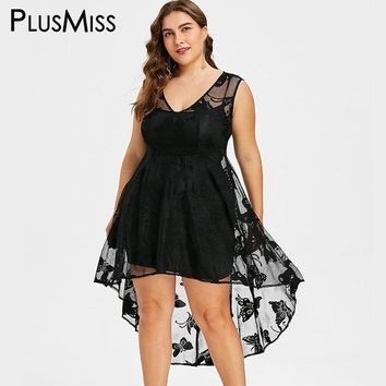PlusMiss Plus Size 5XL Sexy Vintage Sheer Lace High Low Midi Dress Women Big Size Butterfly Print Tank Party Dresses Summer 2018