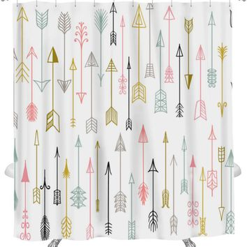 Shower Curtain, Hand Drawn Arrows Collection, 71x74 Inches