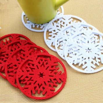 10pcs/lot Merry Christmas Snowflakes Cup Pad Mat Dinner Party Dish Tray Coffee Pads Christmas Decorations for Home
