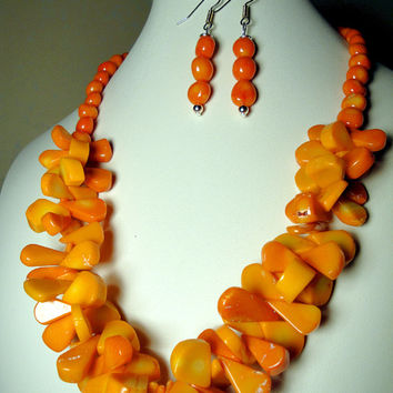 Orange Bamboo Coral Necklace, Organic Gemstone Jewelry with Sterling Silver and Orange Coral Earrings*