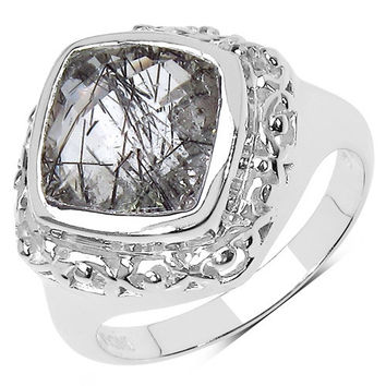 3.40 Carat Genuine Golden Rutile .925 Sterling Silver Ring