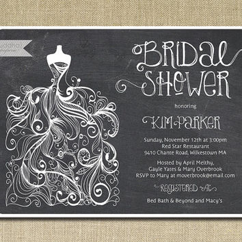 Chalkboard Bridal Shower Invitation Gown Sketch Black White Chalk Classic Elegant Wedding Invite Printable Digital or Printed - Kim Style