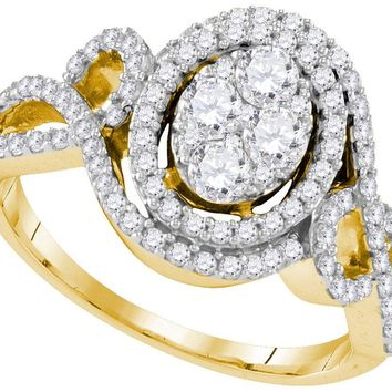 10kt Yellow Gold Womens Round Diamond Oval Halo Twist Cluster Bridal Wedding Engagement Ring 1-1/12 Cttw
