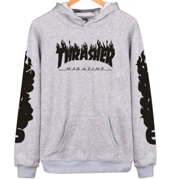 """Thrasher"" flame pattern loose hooded  sweater long-sleeved skateboard Grey"