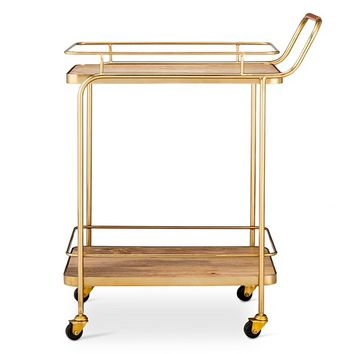 Metal/Wood/Leather Bar Cart - Gold - Threshold™