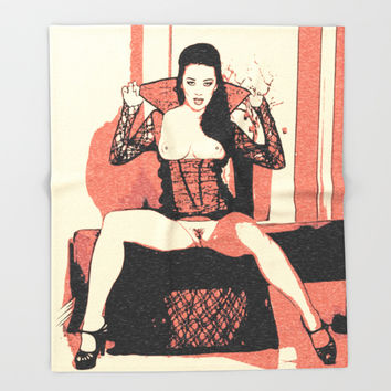Demonic erotic sexy demonic woman topless, vampire, vampirella girl, halloween costume style, kinky Throw Blanket by Peter Reiss