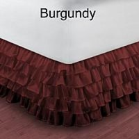 1000TC Egyptian Cotton Burgundy Queen Ruffle Bed Skirt / Valance