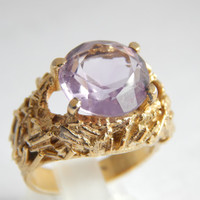 Stunning Heavy Modernist Amethyst Gold Vermeil Textured Hammered Ring with Full Hallmark for 1969 - Amethyst Ring - Statement Ring