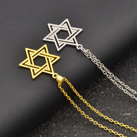 Star of David Pendant Necklace Women Men Chain Gift Gold  Hollow Classic Necklace