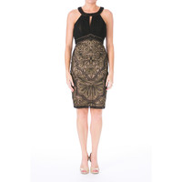 Sue Wong Womens Metallic Beaded Cocktail Dress