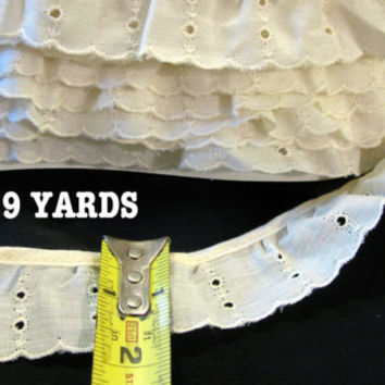 Cream Eyelet Lace Trim, Ruffle Ivory Cream Off White 9 Yards