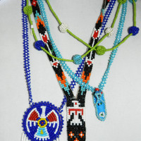 Four Vintage Native American Indian Navajo Seed Bead Necklaces Lot Jewelry Jewellery Lot