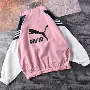 PUMA Newest Fashion Zipper Cardigan Sweatshirt Jacket Coat Windbreaker Sportswear Pink