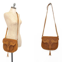 Moroccan Leather Satchel • 1980s Embossed Leather Bag • 80s Goatskin Leather Crossbody Bag • Vintage Leather Bag • Tanned Leather Purse
