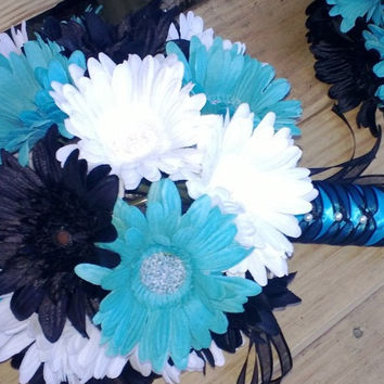15 Piece Black White Turquoise Malibu Blue Daisy Bridal Bouquet Wedding Flower Set, Turquoise Black White Wedding, Malibu Blue Bouquet