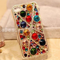 colorful crystal iphone 4 case, iphone 4s case iphone cover skin iphone 5 case - fully gems iphone case