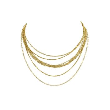 Gold Multi Layers Chain Necklace For Fashion Women Accessories