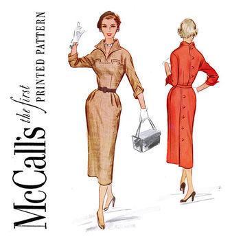 1950s Wing Collar Sheath Dress Pattern Bust 30 UNCUT McCalls 9531 Back Button Sophisticated Day Evening Dress Womens Vintage Sewing Pattern