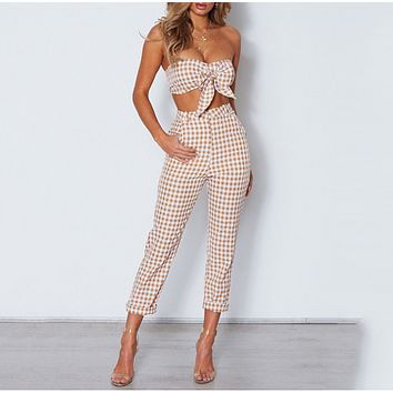Spring and summer women's new plaid fashion casual two-piece suit