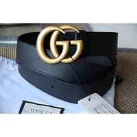 GUCCI New Fashion Black GG Gold Buckle Leather Women Men Belt
