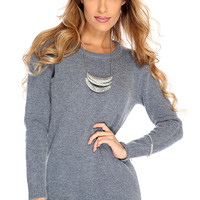 Grey Mohair Long Sleeve Sweater Dress