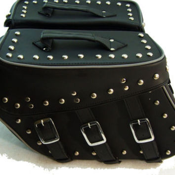Motorcycle Genuine Cowhide Leather Saddlebags for Harley Davidson Softail Night reflective