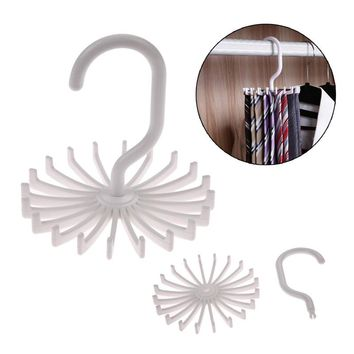 Plastic Rotating Clostet Clothing Rack 20 Hooks Tie Clothes Hanger Holder Household Hanging Necktie Belt Shelves